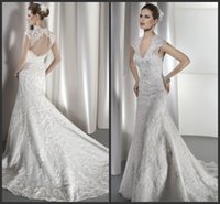 Cheap Ivory V Neck Wedding Dresses Zipper Open Back 2016 Beaded Capped Sleeves Appliques Lace Mermaid Bridal Gowns Court Train Demetrios 1449