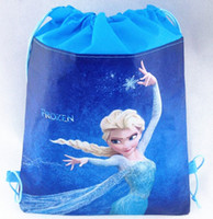 Wholesale High quality Frozen children backpack Ice snow princess toy bags draw string school bag kids cartoon backpacks shopping bags