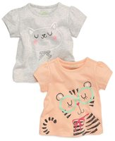 animal outlet - Europe and America summer new short sleeved t shirt round neck Girls Boys cartoon cat printing trade Factory Outlet A070113