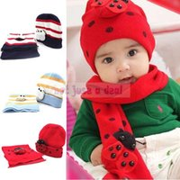 Wholesale 2014 Fashion New Winter Lovely Infant Baby Kids Boys Girls Ladybug Warm Beanie Hat Cap Scarf in Set