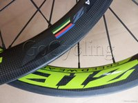 zipp - ZIPP green ZIPP decals clincher tubular bicycle wheels c carbon fiber road bike racing wheelset with novatec hub basalt brake surfac