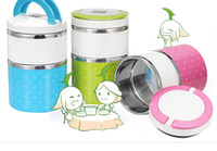 Wholesale 2014 New Available Promotion Layers PP stainless steel Lunch Box Round lunch box Thermal box Accept OEM