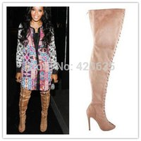 Cheap Gladiator Peep Toe Thigh High Boots | Free Shipping ...