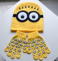 Wholesale Despicable Me Minions Spider man Knit Caps Gloves Cartoon Winter Knitted Kids Girls Boys Hats Gloves Children Christmas Gift B245