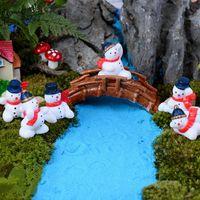 Wholesale 1 Snowman Figurine Miniature Resin Craft Decoration Bonsai Ornament Gardening Dollhouse DIY Christmas Gifts Dollhouse Plant