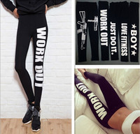 Wholesale Woman Clothing WORK OUT Letters Leggings Slim Sexy Sportswear Gym Sports Fitness Leggings Winter Pants