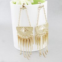 gold spikes - Hot Fashion New Punk Style Gold Color Spike And Tassels Long Drop Earrings For Women