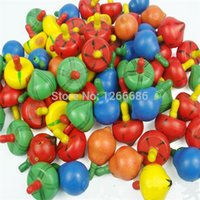 Wholesale 200pcs wooden colorful mini spinning top rotating toys Fruite Types