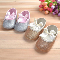 Wholesale Drop shipping Bows baby shoes princess single shoes gold gray toddler shoes sequins children s shoes soft bottom kids shoes gold
