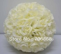 Wholesale Ivory color inches diameter cm artificial silk kissing flower ball wedding party church decoration use