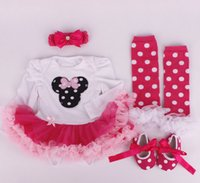 Wholesale baby girl infant toddler piece outfits Mickey Minnie Cartoon romper tutu lace legging leg warmer headband shoes cupcake skirt sets
