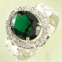 Wholesale Cheap Green Tourmaline White Topaz Gemstones K White Gold Plated Ring For Wedding Size A0047