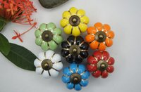 Wholesale 4 cm European Style Kitchen Cabinets Knobs Bedroom Cupboard Drawers Colors Ceramic Door Pull Handles With Screws