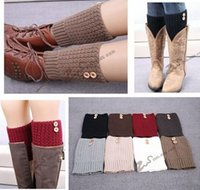 Wholesale Multicolors Winter Leg Warmers Women Boot Cuff Sawtooth Button Legwarmers Knitted Leg Warmers Foot Socks Boot Cuff Knit Leg Warmer
