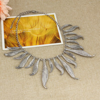 big left - 2016 New Foreign Trade silver gold Leaves pattern Explosion Models big European and American Fashion Necklace Factory Direct ZY