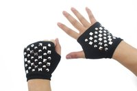 arm sleeve purpose - Men and women multi purpose can wear fashionable rivets arm sleeve half finger wool knitted gloves drainage way