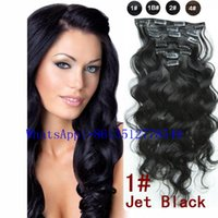 Wholesale 100g clip in human hair extensions Indian Hair Remy human hair Jet Black body weave