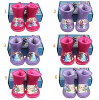 boots baby fur - baby girl frozen boots kids frozen shoes Snow Boots girls flat Frozen plush shoes purple red toddler girls winter snow boots D1380