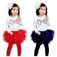 Cheap Summer children clothes set Toddlers Outfits Baby Sets Girl Suit Kids Childrens Clothes Cute printed T-shirt+Tutu Skirt Leggings