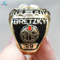 Wholesale 1986 Edmonton Stanley Cup championship ring oiler Enamal Crystal Rhinestone gold Pleated Ring Men Jewelry