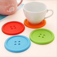 Wholesale Cute Colorful Silicone Button Cup Cushion Holder Drink Tableware Coaster Mat Pads