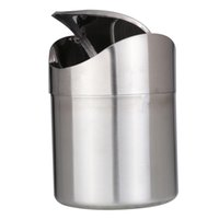 stainless steel trash bin - Hot Sale High Quality Stainless Steel Trash Bin L Mini Car DustBin Swing Lid Kitchen Worktop Waste Rubbish Trash Can Colors