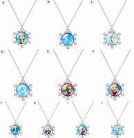 Wholesale Frozen Pendant Necklace Snowflake Necklace Princess Elsa Anna Olaf Snowman Christmas Gifts for Children Costume Decorations Styles