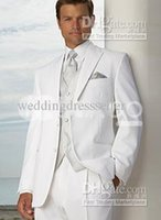 Cheap New White Groom Tuxedos Men's Wedding Dress suits Prom tuxedos for wedding (Jacket+pants+tie+vest)