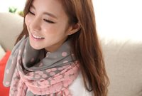 Wholesale 2014 Korean female autumn and winter in Europe and America photocopying gradient dot scarf Scarves flower voile