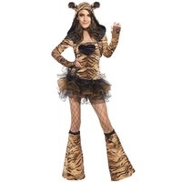 Wholesale 3 Piece Fever Tiger Cosplay Costume Set Hooded Dress Mini Skirt Boot Covers Sexy Stage Wear