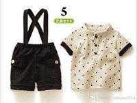 Cheap Baby Boy Suit Clothes Star Lepal T Shirt + Straps Shorts 2pcs Toddler Casual Set Kids Overalls Set 80-120 Fit Children Wear 5set lot BG56