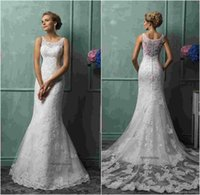 Cheap Amelia Sposa 2015 Mermaid Wedding Dresses Vintage Bateau Neck Lace Appliqued Sheer Back Tulle Court Train Church Bridal Gowns