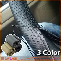 Wholesale 2016 Hot Sale New Universal Anti slip Breathable PU Leather DIY Car Steering Wheel Cover Case With Needles and Thread