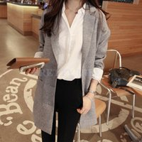 Cheap High Quality S M L XL European Fashion Long Warm Overcoat Women Loose Coat Elegant Wool Slim Jacket Gray Wine Red 31