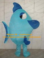 Wholesale Smart Blue Flounder Mascot Costume Deep Sea Fish Pomfret Batfish Turbot Flatfish With Chubby Body Big Eyes No Free Ship