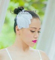 Wholesale Bride White Feather Hat With Crystal Handmade Delicate Wedding Accessories Ballet Hair Jewelry Hairpin Hair Accessory