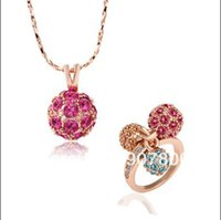 Wholesale The Fashion Top Jewelry Set plating K rose gold inlaid rhinestone crystal necklace D Ball Rings