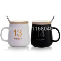 Wholesale Black and white couple coffee mug ceramic tea cups and mugs with lid and spoon matt Cup