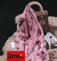ladies designer scarf - 2016 Hot Selling Top Quality Classic European Designer Womens Skull Print Silk Scarf Elegant Ladies Wrap