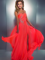 Wholesale Beads Sequins Crystal Prom Dresses A Line Halter Sleeveless Floor Length Split Front Party Dresses Ruffle Chiffon Evening Dresses SA146