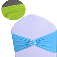 Wholesale 50pieces Stretch Chair Cover Bands Lycra Spandex With Buckle Replace Chair Sash Bow Wedding Party Decor New