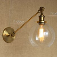 american light pole - Newest American country collapsible wall lamp wall lamp LOFT pole retro style glass ball decoration industry telescopic light