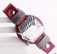 Wholesale Anime Bracelet Attack on Titan PU Leather Black Red Color Mix B2