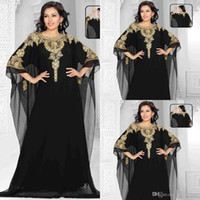 Wholesale Dubai Evening Gowns Chiffon Gold And BlackCrystals Beaded Plus Size Prom Dress Cap Sleeve Arabic Kaftan Long Formal Evening Dresses
