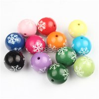Wholesale New mm Round Chunky Bubblegum Beads Snowflake Printed Acrylic Gumbll Bead for Christmas Decorations Chunk Necklace Bubblegum Necklace