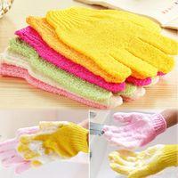 Wholesale New hot sale One Shower Exfoliating Wash Skin Spa Foam Bath Gloves Massage Loofah Scrubber Color Random TY1470