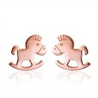 american transporter - Carlo US jewelry Korea fashion Horse transporters small horse woman earrings titanium steel does not fade hypoallergenic earrings