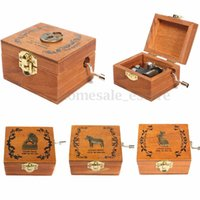 Wholesale Wooden Hand Crank Sankyo Music Box Memory Soundtrack Theme Heart Lock Patterns