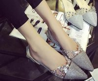 Cheap 2015 point crystal low heel sandals fashion flat shoes sexy wedding shoes prom party women shoes