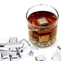 Wholesale Set of Stainless Steel Chilling Ice Cooling Cubes Reusable for Whiskey Wine Beverage with Plastic Storage Box